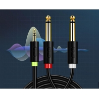 Buy cheap 3.5mm to Double 6.5mm Audio Cable Male to two Male Plug Line 6.35 Speaker Cable from wholesalers