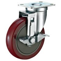 Wholesale Industrial Steel Heavy Duty Cart Wheels , Red PU Locking Swivel Casters from china suppliers