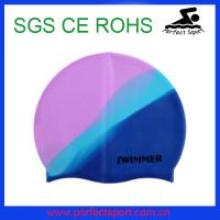 China colorful waterproof funny adult silicone swimming cap on sale