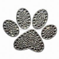 Wholesale Crystal Car Sticker in Paw Print Shape, OEM Orders are Welcome, Measures 4 x 3 Inches from china suppliers