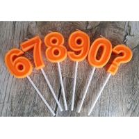 Wholesale Orange Mini Number Birthday Candles Zero To Night With 3D Edge And Plastic Holder from china suppliers