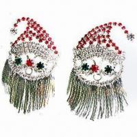 Wholesale Full Rhinestone Earrings in Christmas Style, Lead- and Nickel-free from china suppliers