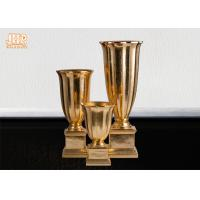 Wholesale Gold Leafed Fiberglass Table Vases Homewares Decorative Items Trumpet Floor Vases from china suppliers