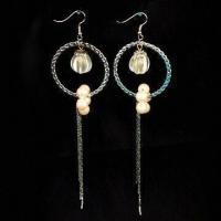 Wholesale Nickel-free Earrings, Fashionable Design, Made of Metal, Plastic Beads and Imitation Peals from china suppliers