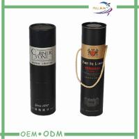 China Custom Round Black  Wine Tube Gift Box Paper Packing Foil Stamp wholesale