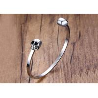 Wholesale Customized High Polished Brand Stainless Steel Skull Bracelets Wide Cuff Open Bangle Bracelet from china suppliers