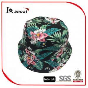 100% Cotton Hawaii Printed Bucket Hat With Drawstring , Ladies Floral Bucket Hat