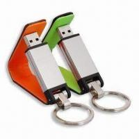 Buy cheap USB Flash Drives, Made of Leather and Metal Casing, Measures 55 x 54 x 41mm from wholesalers