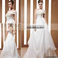 Wholesale oblique shoulder beaded bridal gowns 90032 from china suppliers