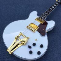 Wholesale High quality hollow body jazz electric guitar,The White Guitar, the real abalone mother inlaid with the finger plate from china suppliers