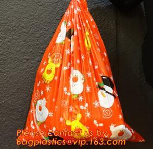 China PE Plastic drawstring Gift Bags With cartoon Logo, drawstring christmas plastic giant santa sack for gift wholesale