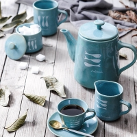 Wholesale Fish Decal Reactive Glazed 1000ml Turquoise Aqua Teapot from china suppliers