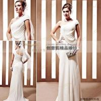 Wholesale straight taffeta long bridal dresses ,  olique shoulder bridal dresses from china suppliers