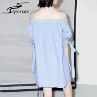 Wholesale White Blue Stripe Off Shoulder Women Dress , Casual Summer Dresses Minimalistic from china suppliers