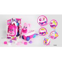 Wholesale Pink Building Blocks Educational Toys For Kids Age 3 Years / Animal Trolley Cart from china suppliers