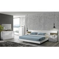 Turkish Cream Gloss Bedroom Furniture Sets , E1 MDF Long Headboard Bed