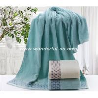 Wholesale Customized soft holiday big blue bath towels with dobby from china suppliers