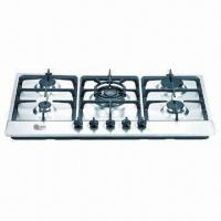 Wholesale Built-in 5 Burners Gas Hob with Stainless Steel Panel and Cast Iron Pan Support , LPG/NG from china suppliers