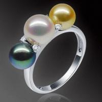 China Akoya Pearl Ring, 18K Gold Pearl, with Diamonds, Customized Sizes are Welcome on sale