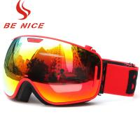 Wholesale Durable Comfortable Red Snowboard Goggles , Double Lens Ski Goggles With Anti Burst from china suppliers