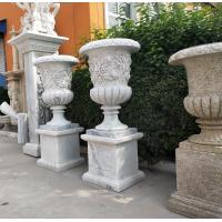 Wholesale Marble carvings planter stone carved flowerpot sculpture,outdoor stone garden statues supplier from china suppliers