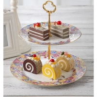 Wholesale Eco Friendly 2 Tiered Cake Stand 25cm Porcelain Serving Set from china suppliers
