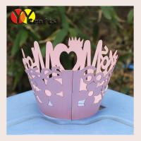 Wholesale Laser Cut Cupcake Wrappers pink Happy mother