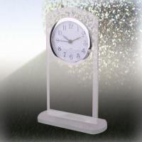 Wholesale Glass Desk Clock, OEM Designs are Welcome, Measures 145 x 95 x 10mm from china suppliers