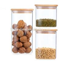 Buy cheap High borosilicate 500ml small pyrex glass storage jar glass jar with bamboo lid from wholesalers