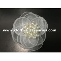 12G Artificial White Fabric Flower Corsage Hair Accessories With Pearl