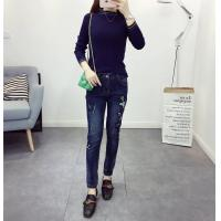 High Waisted Black / Dark Blue Womens Tapered Jeans Flowers Embroideried Quick Dry