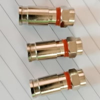 Wholesale RG6U Coaxial Cable Connector for Satellite Brass Weatherproof Compression F Plug from china suppliers
