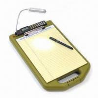 Wholesale LED Light Storage Clipboard with Small Solar Calculator and Low Profile Clip from china suppliers