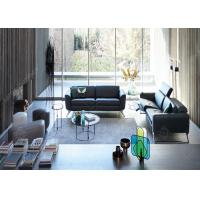 Hotel Lobby Stainless Steel Sofa And Chair Set , Black Modern Sectional  Leather