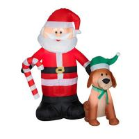 Factory Customized Shop or Family Christmas Roof Decoration Inflatable Santa Claus on Fire