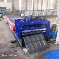 China Skew Arc Glazed Tile Roll Forming Machine Pillar Cutting Type 4 Tons Capacity on sale