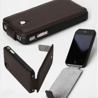 Wholesale Full body Black Flip PU Leather Protective iphone 5 Cases with logo printing from china suppliers