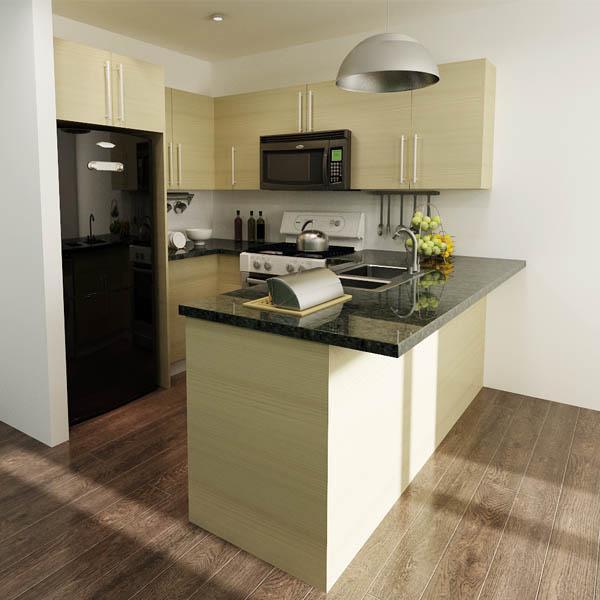 Wood Grain Kitchen Cabinets: Wood Grain Modular Melamine Kitchen Cabinets With Black