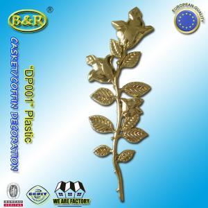 China Plastic flower rose for coffin decoration , casket accessories gold color DP001 Herrajes para ataudes rosas wholesale