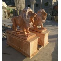 Wholesale Garden decoration Stone walking lions pink marble animal sculpture,stone carving supplier from china suppliers