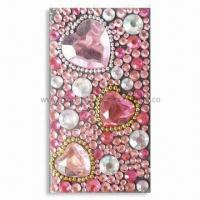 Wholesale 3-D Sparkling Mobile Phone Sticker with Pink Tone and Rhinestones, OEM Orders are Welcome from china suppliers