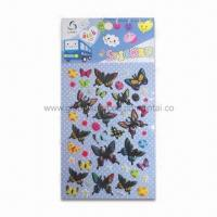 Wholesale 3-D Puffy Stickers in Butterfly Shape, Made of Vinyl, Sponge and Transparent PET from china suppliers