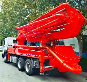 6x4 HOWO Cement Boom Truck , 37 / 39 Meter Boom Height Cement Pump Truck