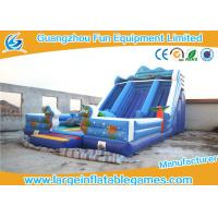 China Happy Hop Blue Inflatable Dry Slide , Inflatable Double Slip And Slide With Pool on sale