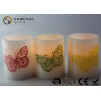 China Decoration Real Wax Electronic Candles with butterfly pattern , Carved Candles wholesale