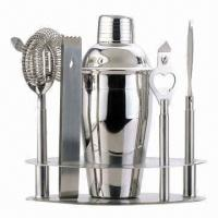 China Bar/wine set, includes cocktail shaker/ice tongs/bottle opener/strainer/cheese knife/tool holder on sale