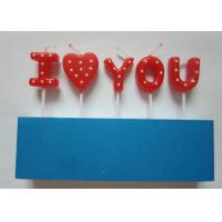 China Sweet Letter Birthday Candles , White Dots Decorative Valentine'S Day Candles wholesale