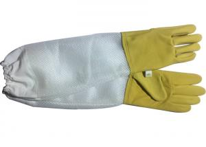 Wholesale Yellow Sheepskin Beekeeping Gloves With White Soft Ventilated Part White Elastic Cuff from china suppliers