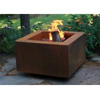 Wood Burning Square Metal Fire Pit , Square Garden Fire Pit Simple Design