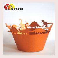 Wholesale Orange Dinosaur Cupcake Wrappers For wedding , Laser Cut Cupcake holder from china suppliers
